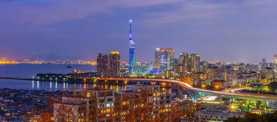 Wall Mural - Panorama view of Hakata cityscape skyline in Fukuoka, Japan