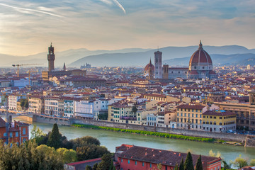 Sunset view of Florence skyline in Italy