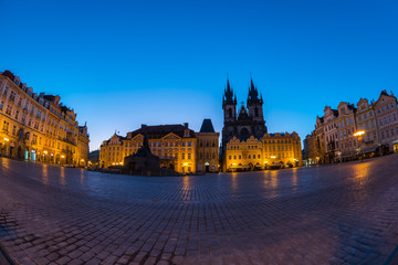 Panorama view of old town square in Prague city, Czech Republic