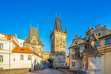 Tower of Charles Bridge in Prague city, Czech republic