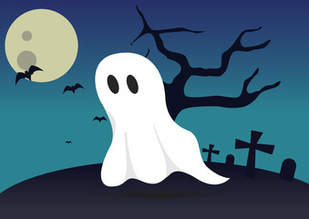 boo ghost halloween background vector illustration