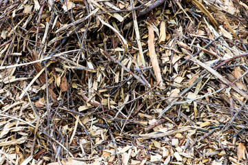 Various brown shades of wooden mulch texture with bark and lumber pieces
