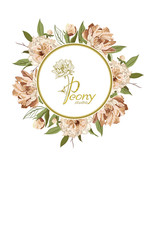 Peony studio. Banner for beauty salon, hotel salon beauty resort and spa. Design with illustration of logo Peony studio against a background of peony flowers.