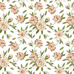 Seamless floral pattern with Peony on a White Background.