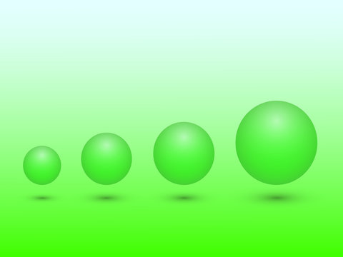 A set of green sphere from small to big size meaning growth on green background vector illustration