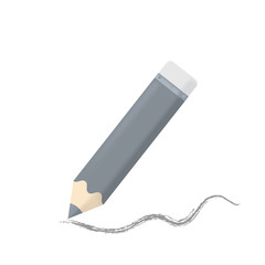 cartoon pensil and the line from the pencil isolated