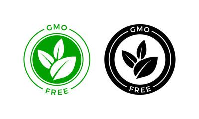 GMO free icon. Vector green non GMO label sign