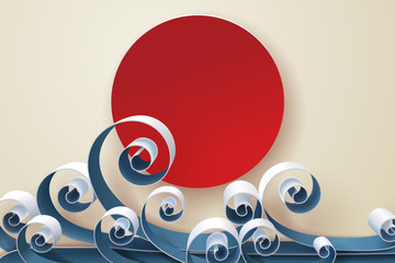Paper art of Japanese wave and sun