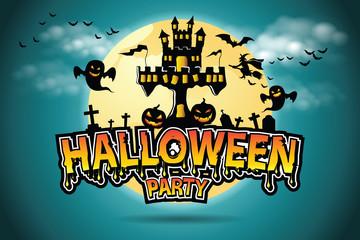 Halloween Vector lettering Halloween Party.