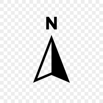 North arrow icon N direction vector point symbol