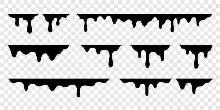 Black melt drips or liquid vector paint drops