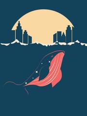 Whale near city