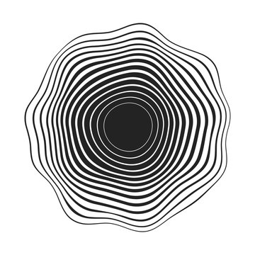 black concentric wavy lines that makes a rounded abstract organic shape