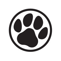 Paw logo cat dog animal pet footprint vector icon