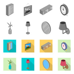 Vector design of bedroom and room icon. Collection of bedroom and furniture stock symbol for web.