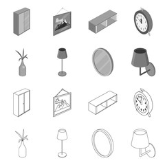 Isolated object of bedroom and room icon. Set of bedroom and furniture vector icon for stock.