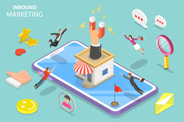 Isometric flat vector concept of digital inbound marketing strategy, leads generating, customer attraction and retention.