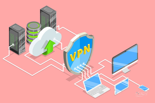 Isometric flat vector concept of VPN protection, cyber security, traffic encryption, virtual private network.