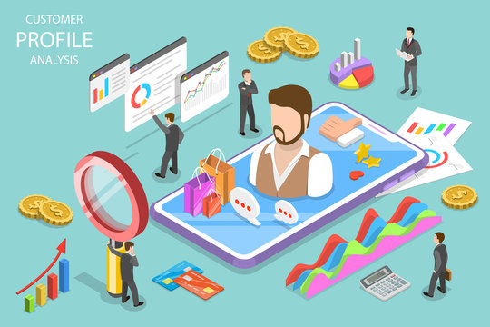 Isometric flat vector concept of customer profile analysis, client data, portfolio, target marketing.