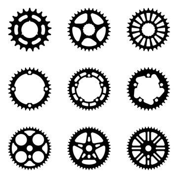 Sprocket wheel. Bicycle parts. Silhouette vector