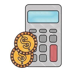 calculator math with coins
