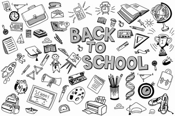 School and education doodles hand drawn sketch with symbols and objects. Education concept