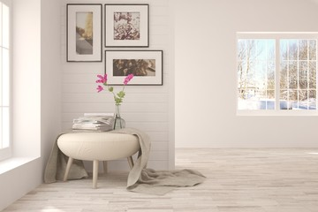 Inspiration of white minimalist room with modern armchair. Scandinavian interior design. 3D illustration