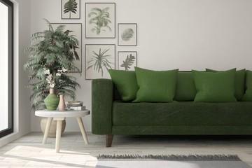 Mock up of white room with green sofa. Scandinavian interior design. 3D illustration