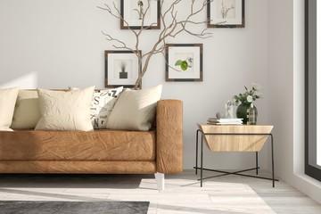 Idea of white minimalist room with leither sofa. Scandinavian interior design. 3D illustration