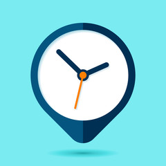 Levitation Clock icon in flat style, round timer on blue background. Simple business watch. Vector design element for you project
