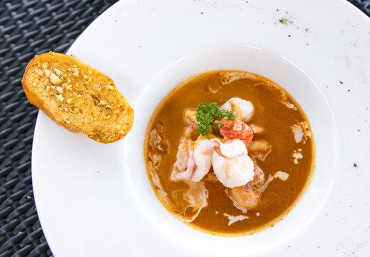 shrimp soup,appetizer on plate