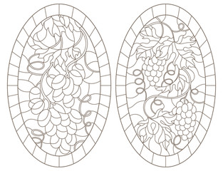 Set of contour illustrations in stained glass style with grape framed, oval images, dark contours on white background