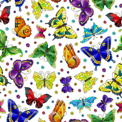 Seamless pattern with bright butterflies and flowers on white background