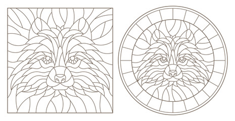 Set of contour stained glass illustrations with raccoon head, round and square image, dark outline on white background
