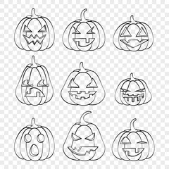 Faces Halloween pumpkins emotions outline drawing for laser cutting, festive decor, stickers.