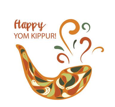 Vector illustration of Happy Yom Kippur background with shofar