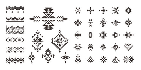 Set of decorative Ethnic elements isolated on white background.