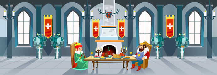 Cartoon castle hall with king and queen. Royal dinner in front of fireplace in big room. Vector illustration