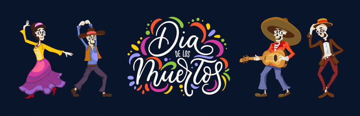 Dia de los Muertos greeting card for Day of the Dead. Greeting vector illustration with dancing skeletons and lettering on blue background