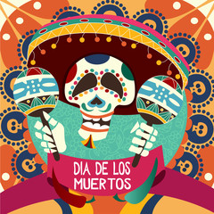 Dia de los Muertos card for Dau of the Dead. Greeting vector illustration.