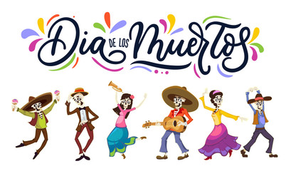 Dia de los Muertos greeting card for Day of the Dead. Greeting vector illustration with dancing skeletons and lettering.