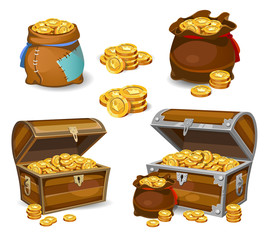 Casino and Game cartoon 3d money icons. Gold coins in moneybags and chests..Game design money items. Gold coins on white background.