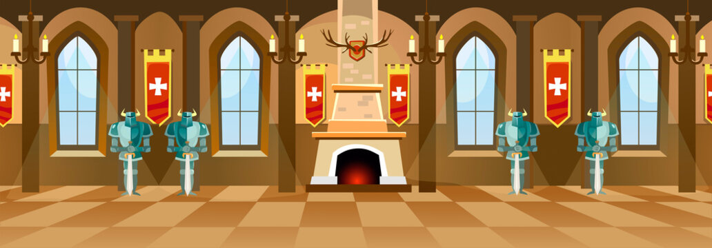 Cartoon castle hall with knights, fireplace and windows in big room. Vector illustration