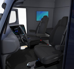 Autonomous truck interior with black seats and wall mounted monitor, full size bed. 3D rendering image.