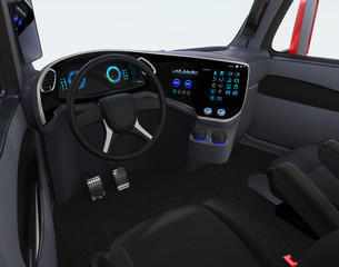 Autonomous truck interior with black seats and touch screen instrument panel. 3D rendering image.
