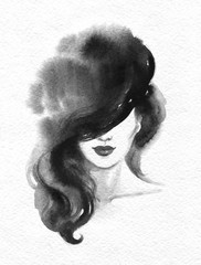 Autocollant pour porte Portrait Aquarelle beautiful woman. fashion illustration. watercolor painting