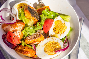 Paleo diet salad with salmon, tomatoes, eggs, onions and lettuce, close-up