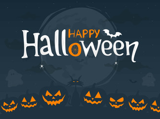 Happy Halloween. Night background with moon, scary pumpkins and text. Vector illustration.