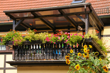 Balkon, Holz, Blumen, Elbsandsteingebirge