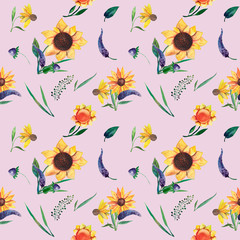 Seamless watercolor pattern on violet background. Sunflowers, leaves and wild herbs. Illustration isolated on white background. Template for T-shirt, decor, greeting card, poster or photo overlay